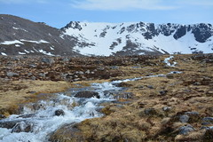 River flowing out of Coire Lochan with the Fiacaill ridge on the left (nic0704) Tags: mountain walking t landscape scotland highlands outdoor hiking hill peak an ridge climbing summit mountainside cairn gorm scramble cairngorm cairngorms foothill lochan coire sneachda fiacaill