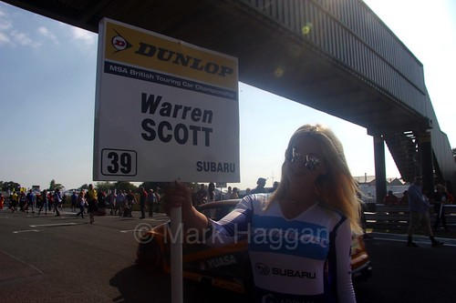 Warren Scott's grid board during the BTCC weekend at Oulton Park, June 2016