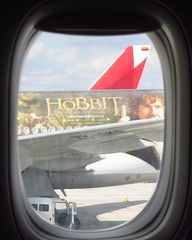 Hobbit plane next to ours (Copper_Beech221 (acct for more fannish interests)) Tags: london window plane airplane airport heathrow thehobbit martinfreeman