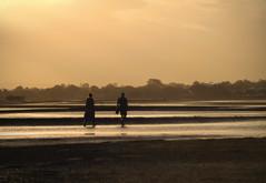Misty soft evening_c (gnarlydog) Tags: autumn sunset beach monochrome walking puddle outdoors evening couple australia queensland serene lowtide manualfocus softlight projectionlens adaptedlens vintagelenseffect refittedlens kodakektanar102mmf28