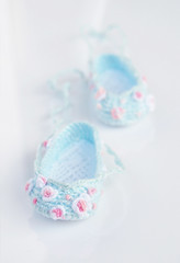 Little Roses - ballet shoes for Little Darling by Dianna Effner (Maria Kłopotowska) Tags: blue roses ballet rose shoes doll embroidery crochet embroidered slippers bullion littledarling effner