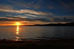 Sunset on the lake (enzo rettori) Tags: sky landscape lake beach shoreline sunset sundown cloud water umbria trasimeno