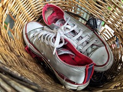 16-178 (Gray Singer) Tags: red fashion silver shoes basket converse worn wicker shabby