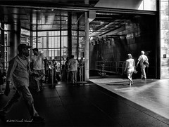 Movement in Light and Shadow (CVerwaal) Tags: nyc blackandwhite subway streetphotography columbuscircle ricohgr