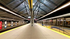Lougheed Station (SqueakyMarmot) Tags: night vancouver platform trainstation burnaby suburb skytrain millenniumline lougheedstation