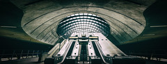 Canary Wharf Underground London by Simon & His Camera (On Explore 7th Jun 2016) (Simon & His Camera) Tags: city light urban london lines architecture stairs composition underground lights escalator tunnel indoor explore dome curve passage canarywharf iconic vignette simonandhiscamera