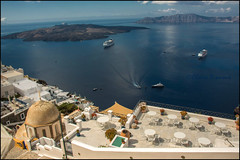 Caldera.  Thira (Claire Pismont) Tags: travel blue color colour colorful bleu santorini greece santorin couleur cyclades grece thira fira streetshot travelphotography documentory pismont clairepismont