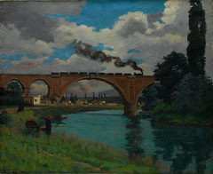 Railroad Bridge over the Marne at Joinville (Grandiloquences) Tags: trees clouds reflections landscapes arch smoke 19thcentury bridges arches trains rivers impressionism locomotives railroads joinville poplars marne 1870s landscapepainters viaducts hautemarne frenchart landscapepaintings railroadbridges frenchartists guillaumin frenchimpressionism frenchlandscapes armandguillaumin frenchimpressionists frenchlandscapists