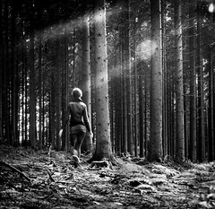 The Ghost of the Forest ;-) (neerod81) Tags: trees bw selfportrait monochrome lines forest dark moving ghost blurred textures motionblur sw wald bume selbstportrait schwarzweis lightflares selfiephobia