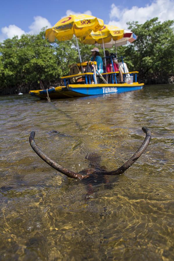 Jangada no rio Maracaípe - jangada ancorada
