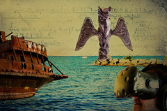 VR Fantasy Suite: The Guardian of the Channel (Paul B0udreau) Tags: notshotwithacanon photoshopcc nikkor50mm18 canada ontario paulboudreauphotography niagara d5100 nikon nikond5100 layer raw water lakeontario pirateship replica legrandehermine jordanharbour artificialcove totempole htcvive headset virtualreality texture