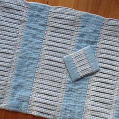 A big button (Landanna) Tags: blue crossstitch blauw handmade cloth recycling blå pleating handgemaakt runningstitch buttonholestitch