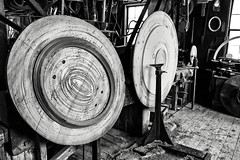 Eccentricity (trochford) Tags: wood old blackandwhite bw usa mill monochrome shop arlington ma mono blackwhite wooden frames industrial factory massachusetts 19thcentury picture newengland machine faceplate historic carve workshop frame round shape 1860s rounded tool oval woodworking circular pictureframe lathe elliptical manufacturing schwamb oldschwambmill