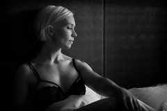 Lady in bed (Barry_Madden) Tags: portrait blackandwhite bw woman hotel bed bra naturallight blonde boudoir shorthair inbed youngwoman hotelroom windowlight blackbra finnishwoman raila portraitproject2014