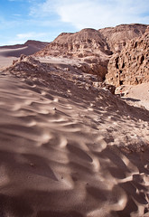 Rock formations in the Valley of the Moon, Atacama, Chile (Miche & Jon Rousell) Tags: chile blue sunset red southamerica argentina rock clouds sand desert atacama andes sanpedrodeatacama cordilleradelasal atacamadesert