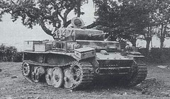 """Disabled Panzerkampfwagen II Ausf. L """"Luchs"""", a light reconnaissance tank with the  Schachtellaufwerk overlapping/interleaved road wheels (the same type as in the Panther and Tiger series), the last version to see production of the Panzer II."""