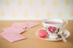 124/366: A rose for my rose (judi may) Tags: pink yellow pattern dof drink bokeh beverage spoon macaroon teacup teabags cupandsaucer canon7d day124366 366the2016edition 3662016 3may16 roselemonadeteabags