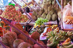 Tropical Fruits Market in Chanthaburi. (baddoguy) Tags: city people food tourism horizontal fruit thailand photography community market nopeople business durian editorial merchandise agriculture selling variation mangosteen marketstall trader tropicalfruit traveldestinations colorimage readytoeat marketvendor retailoccupation businessfinanceandindustry