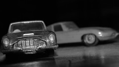 Aston or E-Type (mitchell_dawn) Tags: blackandwhite bw macro classic vintage toy toys 60s antique jaguar 1960s sixties toycar astonmartin sportscar etype db6 wheniwasachild macromondays