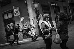 (Rense Haveman) Tags: street ladies blackandwhite bw signs guy monochrome sunglasses graffiti blackwhite background streetphotography curls tenerife rensehaveman fujix100t