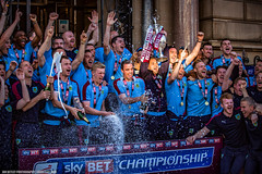 Burnley presented with Sky Bet Championship trophy (Ian Betley Photography) Tags: blue sky promotion season football championship soccer champagne parade lancashire celebrations reception townhall civic trophy presentation title bet won winners champions claret burnley 2016 2015 clarets