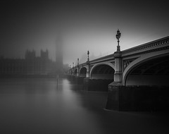 Hidden (vulture labs) Tags: longexposure bridge blackandwhite bw london monochrome westminster fog zeiss 35mm photography nikon moody 28mm fineart parliament monochromatic workshop lowkey atmospheric londonskyline zone3 daytimelongexposure firecrest bwlondon bwlongexposure vulturelabs d800e