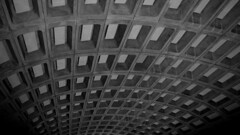 Ceiling at Metro Center (SchuminWeb) Tags: railroad blue red blackandwhite bw orange white black public station architecture train warning subway tile march dc washington track arch ben metro grove district web authority transport platform tracks rail arches trains center bumpy columbia ceiling system line tiles strip transportation transit area metrocenter rapid shady metropolitan strips ceilings metrorail platforms subways stations wmata tactile coffer 2016 coffers coffered washingtonmetropolitanareatransitauthority schumin schuminweb