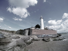 Hale Lighthouse (G Manchester) Tags: light sea lighthouse house tower beach clouds liverpool coast waterfront view aerial hdr drone speke gopro