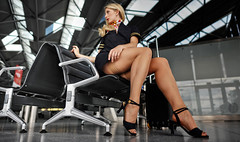 Just-In-Time (Jorg-AC) Tags: stockings beautiful lady stewardess airhostess muscularlegs stronglegs sexy female hot classy blonde blond girl milf nylons holdups hose woman model uniform hotlegs erotic public heels flasher mature beauty elegancy stunning gorgeous skirt upskirt nip pantieless feet showing flashing
