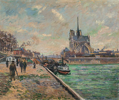 The Bridge of the Archbishops Palace and the Apse of Notre-Dame, Paris (Grandiloquences) Tags: paris seine clouds arch 19thcentury bridges cathedrals arches notredame rivers notredamedeparis cityviews notredamecathedral barges ledelacit 1880s flyingbuttresses flyingbuttress passersby frenchart frenchartists embankments guillaumin pontdelarchevch parisviews frenchimpressionism armandguillaumin riverbarges frenchimpressionists frenchpainters archbishopsbridge seinebarges