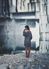 Sense of Scale (Alessandro Bondielli) Tags: light panorama woman lake cute abandoned scale nature girl beautiful beauty face female model alone dress natural bokeh small young marble quarry carrara brenizer