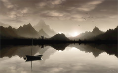 Black world (Jean-Michel Priaux) Tags: sunset shadow sky cloud sun mountain black art nature photoshop painting landscape grey see boat surreal reflect unreal paysage anotherworld bicolor terrific mattepainting