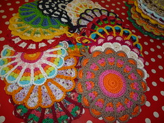 Flower Potholders (Vecilija's Corner) Tags: vintage handmade crochet potholders heklanje
