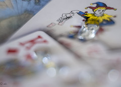 """Cards"" Joker's Wild (Explore 7-19-2016) (Catching_alchemic light) Tags: cards play playing games king diamonds joker betting poker deal dealing aces dof depthoffield macro macromondays cardgame jewels jewelry kingofdiamonds"