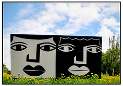 DARLON WORK in the HORNIMAN MUSEUM GARDEN (StockCarPete) Tags: darlon streetart londonstreetart wallart faces hornimanmuseum brazillianartist