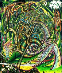the snail (Shawn Dall) Tags: ontario canada abstract green art fashion ink painting landscapes gallery chaos blind god sale patterns indian traditional fine hamilton snail buy shawn spirituality spiritual artforsale inks subconscious artcollect chronamut