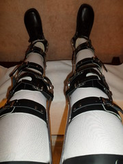 Wearer View of Braced and Locked Legs (KAFOmaker) Tags: leather metal fetish legs braces leg bondage strap cuff buckle brace straps cuffs buckles restraints bracing restraint restrained orthopedic cuffed strapped buckling braced strapping buckled cuffing blacktlsokafo