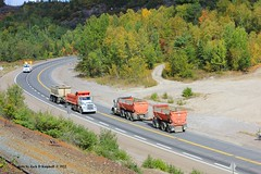 KW's, at Onaping Falls, Ontario. 9-2012 (jackdk) Tags: tractor truck day dumptruck dump semi trailer semitruck kw kenworth tractortrailer 144 onapingfalls dumptrailer highway144 daytrucking daytransportation