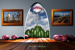 """""""A ROOM WITH A VIEW"""" (David Preston Photography & Digital Imagery) Tags: tower room archway conceptual floorboards framedpictures leasowelighthouse fantasycreation perchrocklighthouse egglikeobjects blenderwork compositedigitalimagery"""