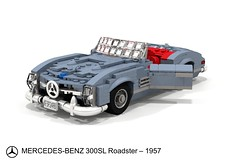 Mercedes-Benz 300SL Roadster  (1957) (lego911) Tags: auto wood classic car germany mercedes benz model lego render under over convertible sl german 1950s mercedesbenz million 1957 natalie 300 mb challenge thousand cad lugnuts 89 roadster povray moc ldd miniland lego911 overamillionunderathousand