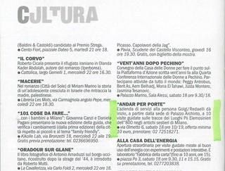 """""""Andar per porte"""", estratto da TuttoMilano, La Repubblica, giovedì 16 aprile 2015, rubrica Cultura"""