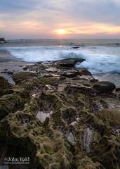 Sunset and Shore, La Jolla, California (84904-84907) (John Bald) Tags: ocean california sunset rocks sandiego wave lajolla shore coastline breakingwave crashingwave