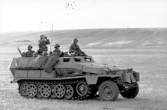 German troops observing the field in a SdKfz. 251 halftrack vehicle, southern Russia, Aug 1942.