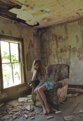 (yyellowbird) Tags: house selfportrait abandoned girl chair iowa lolita cari