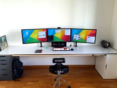 Desktop - Mid 2015 (Bob Jouy) Tags: desktop apple mouse mac sticker keyboard mechanical display desk bureau bad monitor master displays pro setup bluetooth ios asus triple mx logitech breaking klipsch 4k groot ipad airplay uhd wasdkeyboards