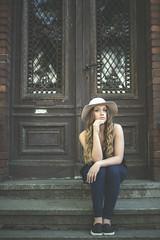 Monika.05 (guzik_) Tags: door portrait house girl beauty hat architecture 50mm nikon polish 50mm14 pole blonde nikkor d610
