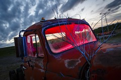 Sunset Truck II (Notley) Tags: blue light sunset red sky lightpainting tree abandoned night clouds truck evening midwest rearviewmirror pickuptruck missouri april bluehour redlight nocturne bluelight 2016 10thavenue notley ruralphotography ruralusa overtonmissouri notleyhawkins coopercountymissouri missouriphotography httpwwwnotleyhawkinscom notleyhawkinsphotography