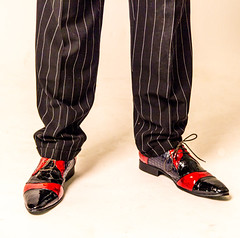 Day 124, 2016, a photo a day. (lizzieisdizzy) Tags: red black smart leather fashion shoes shiny sharp footwear crocodile trousers unusual patentleather laces pinstripe snazzy fashionable laceup pairofshoes winklepickers