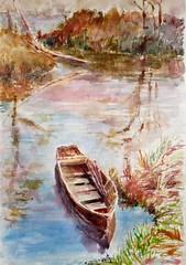Pour le groupe DEFIAQUA, défi de juin (geneterre69) Tags: watercolor eau aquarelle barque fleuve
