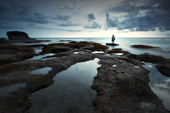 Me, Myself at Melasti Beach (KembaraAlam) Tags: longexposure sea seascape beach canon indonesia landscape photography rocks asia outdoor selfpotrait photohunt tanahlot phototrip phototravel melasti canonasia melastibeach kembaraalam